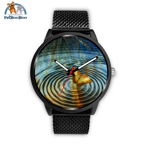 Golden Butterfly Black Watch Mens 40Mm / Metal Mesh