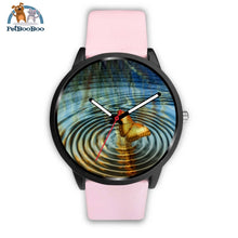 Golden Butterfly Black Watch Mens 40Mm / Pink Leather