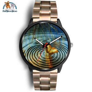 Golden Butterfly Black Watch Mens 40Mm / Rose Gold Metal Link