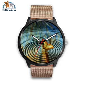 Golden Butterfly Black Watch Mens 40Mm / Rose Gold Metal Mesh