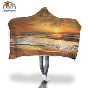 Golden Sunrise Hooded Blanket Adult 80X55