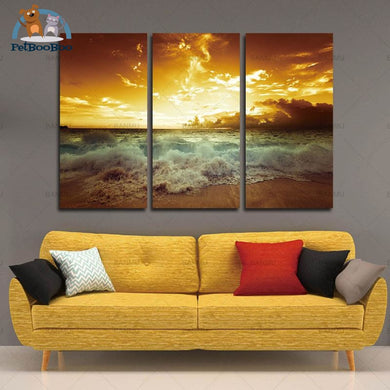 Golden Sunset Beach Canvas Printing 3 Pcs Gh0231C30Cmx60Cmx3