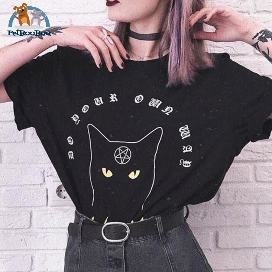 Gothic Cat T-Shirt For Women 200000791