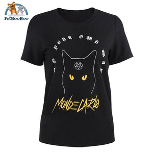 Gothic Cat T-Shirt For Women Black Shirts / S 200000791