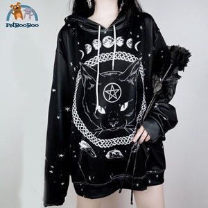 Gothic Moon Phase Plus Size For Women Black Hoodies / M 200000348