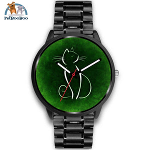 Green Cat Black Watch Mens 40Mm / Metal Link