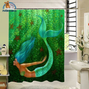 Green Mermaid Shower Curtain Y951 / 90X180Cm Shower Curtain