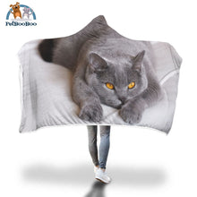 Grey Cat Hooded Blanket Adult 80X55