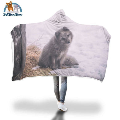 Grey Fox Hooded Blanket Adult 80X55