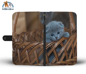 Grey Kitten In A Basket Wallet Phone Case Iphone X / Xs