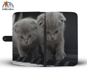 Grey Kittens On A Piano Wallet Phone Case Iphone X / Xs