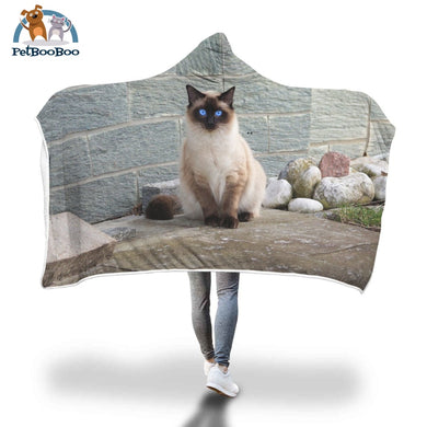 Himalayan Cat Hooded Blanket