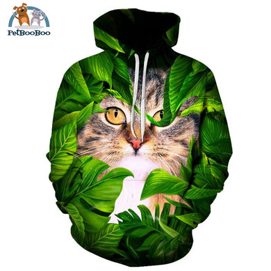 Hoodie Sweater Cat Green Leaves For Men & Women / 4Xl