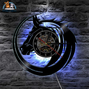 Horse Vinyl Led Lighting Color Changing Wall Clock With Led Clock