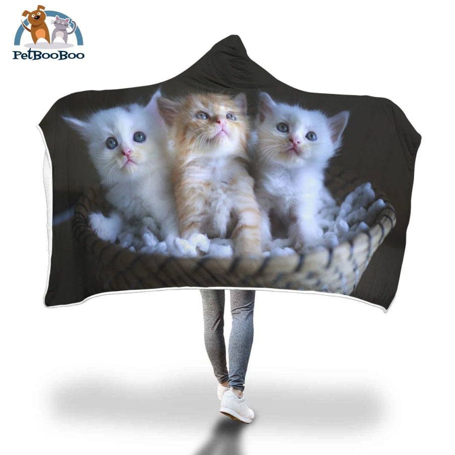 Kittens Hooded Blanket Adult 80X55