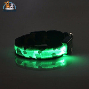 Led Glow Camouflage Collar Dog Green / L 200003720