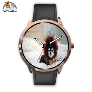 Lion Chihuahua Rose Gold Watch Mens 40Mm / Black Leather