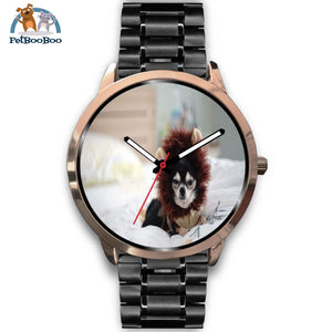 Lion Chihuahua Rose Gold Watch Mens 40Mm / Black Metal Link