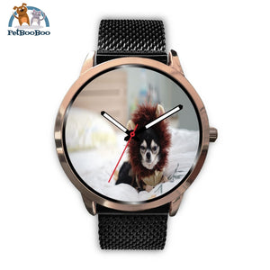 Lion Chihuahua Rose Gold Watch Mens 40Mm / Black Metal Mesh