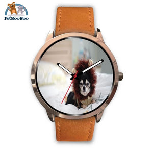 Lion Chihuahua Rose Gold Watch Mens 40Mm / Brown Leather