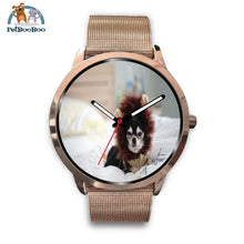 Lion Chihuahua Rose Gold Watch Mens 40Mm / Metal Mesh