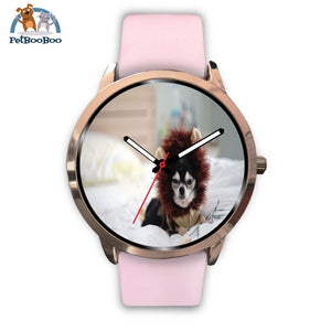 Lion Chihuahua Rose Gold Watch Mens 40Mm / Pink Leather