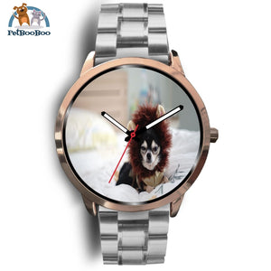 Lion Chihuahua Rose Gold Watch Mens 40Mm / Silver Metal Link