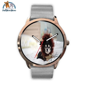 Lion Chihuahua Rose Gold Watch Mens 40Mm / Silver Metal Mesh