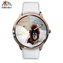 Lion Chihuahua Rose Gold Watch Mens 40Mm / White Leather