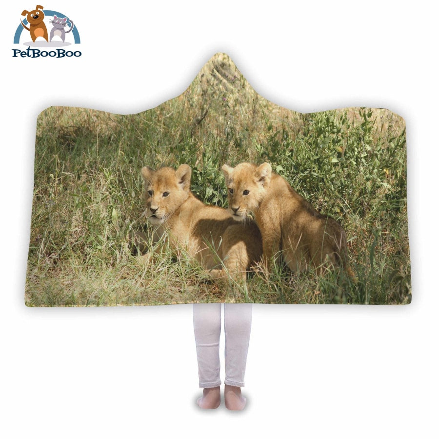 Lion Cubs Hooded Blanket Adult 80X55