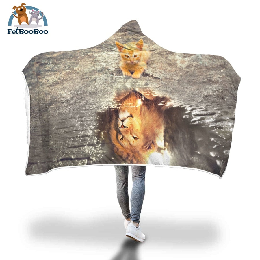 Lion Vs Kitten Hooded Blanket Adult 80X55