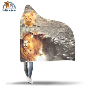 Lion Vs Kitten Hooded Blanket