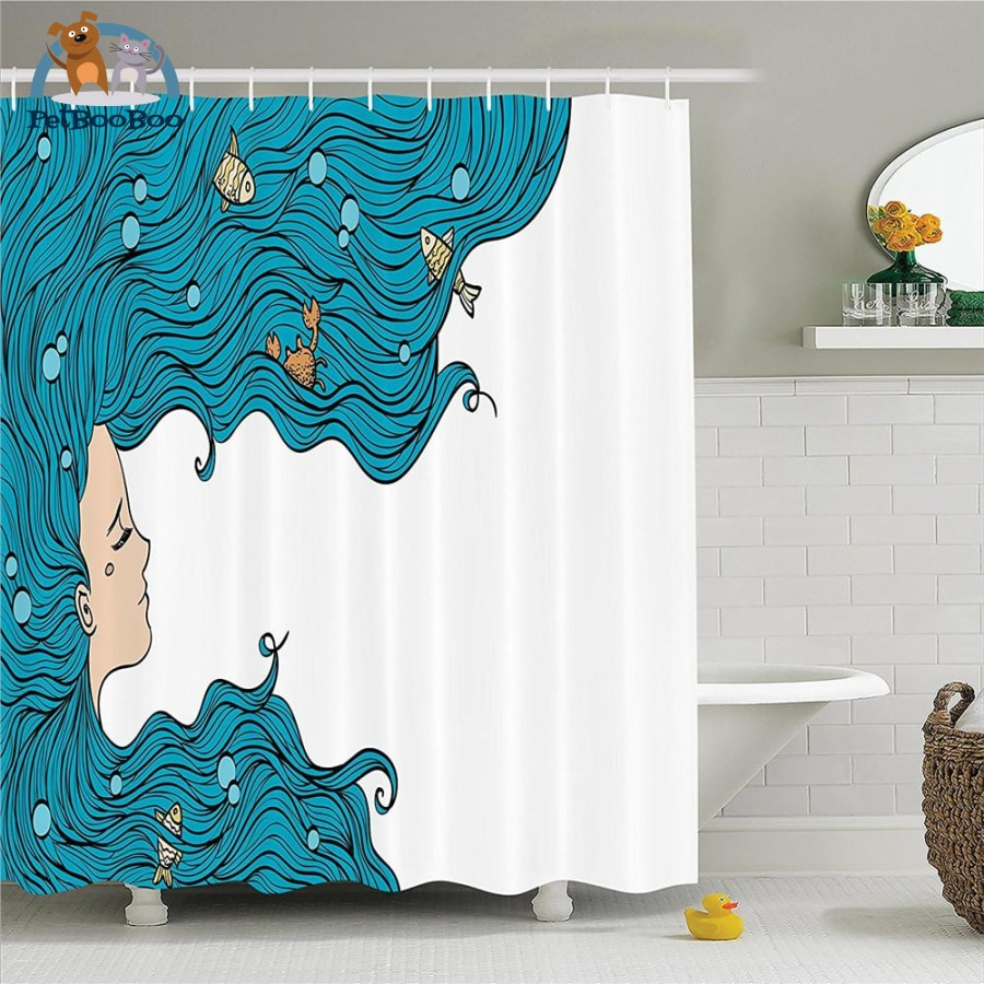 Long Blue Hair Mermaid Shower Curtain Other / 48X72 Inch 154006