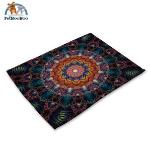 Mandalas Pattern Linen Table Placemats 13 Placemats