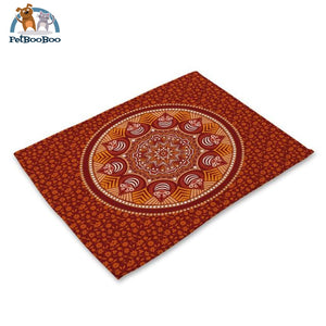 Mandalas Pattern Linen Table Placemats 17 Placemats