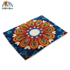 Mandalas Pattern Linen Table Placemats 4 Placemats