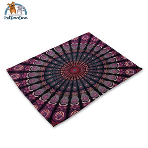 Mandalas Pattern Linen Table Placemats 6 Placemats