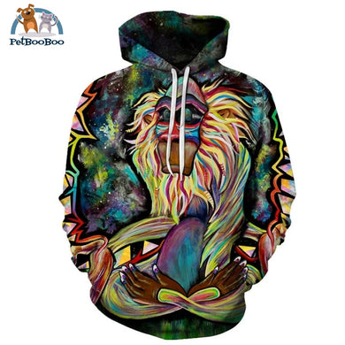 Meditating Monkey Hoodie For Men And Women Lms098 / S 200000344