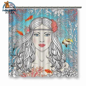 Mermaid Drawing Shower Curtain Ny5453 / W120X180H Cm 154006