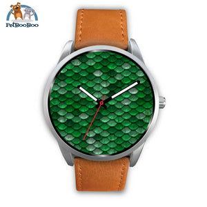 Mermaid Silver Watch Mens 40Mm / Brown Leather