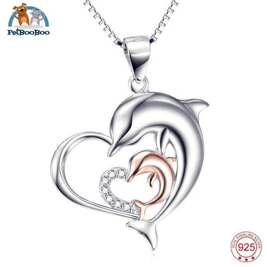 Mother & Child Dolphins 925 Sterling Silver Necklace Pendant For Women 200000162