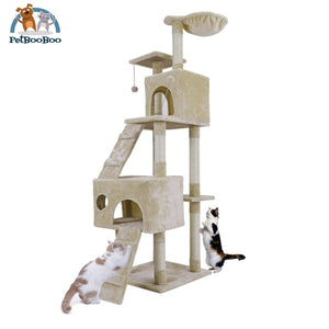 Multi-Layer Cat Tree House With Ladder And Toys Beige / L