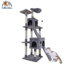 Multi-Layer Cat Tree House With Ladder And Toys Gray / L