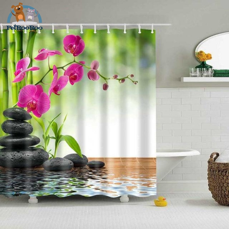 Orchid Stones Shower Curtain 16 / 90X180Cm Shower Curtain