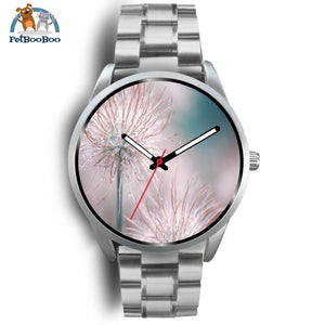 Pink Flowers Silver Watch Mens 40Mm / Metal Link
