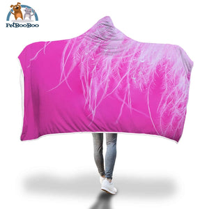 Pink Hooded Blanket Adult 80X55