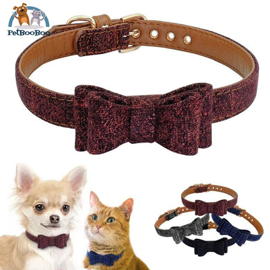 Plaid Bowknot Dog Collar 200003720