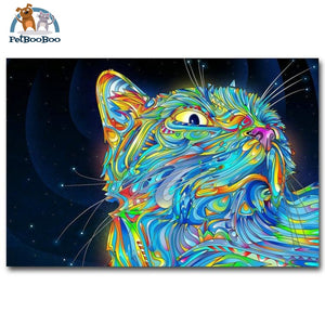 Psychedelic Cat Wall Art Silk Fabric & Poster 12X18 / Picture 1 1704