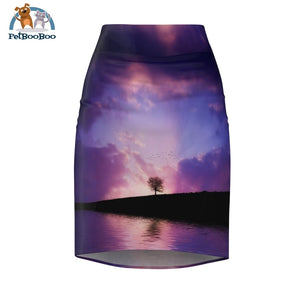 Purple Sunset Womens Pencil Skirt L All Over Prints
