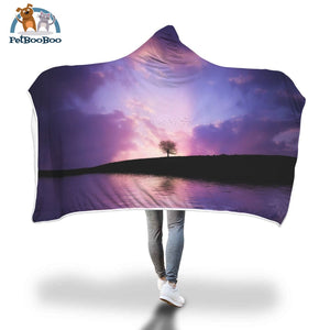 Purple Tree Hooded Blanket Adult 80X55